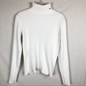 LRL White Turtleneck Sweater with Logo M